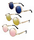 3 Pairs Steampunk Retro Sunglasses Vintage Round Metal Circle Frame for Men and