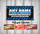 Personalised Chocolate Bar - In case of Emergency - Fun Gift / Present - Blue