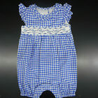Infant Girls Bonnie Baby Blue  White Checked Bubble Sz 6/9Mt 12Mt 18Mt  24Mt