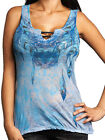 Sinful Caralina Heart Feather Angel Wing Skull Burnout Women Tank Top Blue NEW L