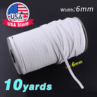 "5-10yds 6mm 1/4"" White Satin Elastic Cord Spandex Band Sewing Trim Braided DIY  <br/> Ships Same Day FROM CALIFORNIA USA!"