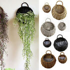 Wicker Garden Fence Flower Basket Pot Planter Container Wall Mounted Plant