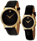 NEW Movado Museum  2100005 & 2100006 Watch Men & Women Black Gold Tone Leather image