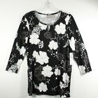 CHICOS Women's Black, White Floral Print 3/4 Sleeve Blouse | NWT