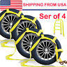 Set of 4 Car Dolly Flat Bed Car Tie Down Kit Wheel Tire Basket Strap Auto Straps
