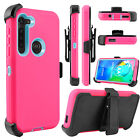 For Motorola Moto G8 Power Case Shockproof TPU+PC Clip Holster Stand Armor Cover