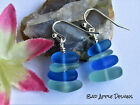 Kyпить Light Blue & Dark Blue SEA GLASS Pebble Earrings Silver Plated USA HANDMADE на еВаy.соm