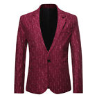 Men's Casual Blazer Paisley Jacquard Suit Jackets Slim Fit Floral Chic S-2XL