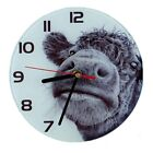 Glass Clock with Hand Drawn Mark Charles Picture UK Made 20cm Sheep Cow Deer Pig