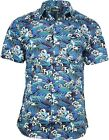 Run & Fly Mens Japanese Hokusai Wave Styled Printed Short Sleeve Shirt