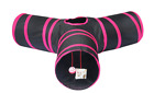 Cosy Life® Cat Play Y-Shape Tunnel Collapsible with Integrated Toy Pink/Black