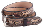 "Mens Gents Full Leather 1.5"" 40mm Full Leather Horse Pattern Buckle Strap Belt"