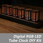 6-Digit Walnut RGB LED Tube Clock DIY KIT Retro Desk Shelf Clock Not Nixie Clock
