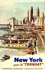 New York Per La Transat 1950 New York City Piers Vintage Poster Print Retro Art