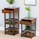 2/3 Layers Retro Nightstand Bedside End Table Bedroom Side Stand Storage Drawer