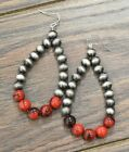NWT Women's Boutique BIG Beaded Earrings Navajo Pearl and Red NEW Jewelry