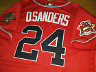 Brand New Cooperstown Atlanta Braves #24 DEION SANDERS w/2patch sewn Jersey RED