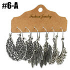 1 Set 3 Pairs Ethnic Boho Women Earrings Antique Ear Stud Drop Dangle Jewelry