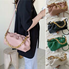 2 Straps Ruched Faux Leather Chunky Big Chain Shoulder Pouch Crossbody Bag Purse