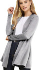 Lock and Love Women's Casual Long Open Front Drape Lightweight Duster High Low H