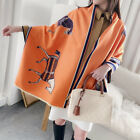 Women Fashion Long Scarf Imitate Cashmere Shawl Horse Printed Kerchief 190 65cm