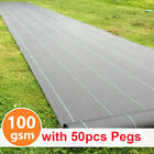 Heavy Duty Fabric Weed Control Membrane Garden Ground Cover Sheet Free 50 PEGS