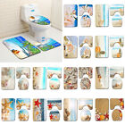 3 Piece Bathroom Rug Set Seashells Starfish Beach Toilet Lid Cover Soft Bath Mat