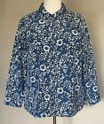 NWOT Denim & Co Woven Floral Print Button Front Shirt Silky Blue or Purple 1X
