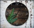 Pine Tree Leaves Wall Clock Home Office Bedroom Living Room Kitchen Decor
