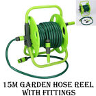 NEW 15M ANTI KINK REINFORCED GREEN GARDEN HOSE WATER PIPE REEL OUTDOOR HOSEPIPE