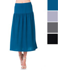 Solid Midi Skirt Sale Women's Long A-Line Flared Pleated Skirt Casual S-XL USA