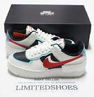 WMNS NIKE AIR FORCE 1 SHADOW SUMMIT WHITE CHILE RED BLACK AQUA DA4291-100 Womens