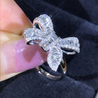 Women's 925 Sterling Silver Cubic Zirconia Bow Ring Wedding Jewellery Size 6-10