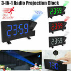 7'' Digital Alarm Clock Projection LED Dual Alarm Radio Snooze USB Charging Port