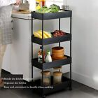 New 4 Tier Slim Storage Cart Kitchen Bathroom Mobile Shelving with Moving Wheels