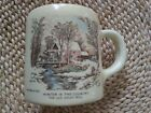 CURRIER & IVES COFFEE OR SHAVING MUG; VINTAGE, WINTER IN THE COUNTRY/HALLMARKED