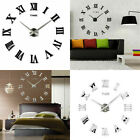 DIY Large Number Wall Clock 3D Mirror Stickers Modern Home Office Decor Decal