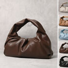 Soft Real Leather Ruched Shoulder Pouch Hobo Tote Bag Clutch Purse Baguette