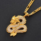 Crystal Silver/golden Dragon Pendant Necklace Chain Women Solid Real Jewelry New