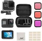 Accessory Kit for GoPro Hero 8 with Shockproof Small Case, Tempered Glass, Black