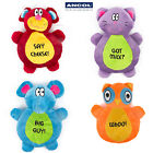 Ancol Flat Brights Plush Comforter Dog Puppy Toy Crinkle Owl Mouse Cat Elephant