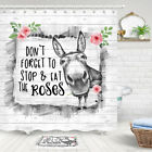 Funny Donkey and Rose Shower Curtain Fresh and Simple Bath Fabric 71