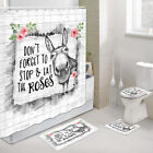 Funny Donkey and Rose Shower Curtain Set Bath Toilet Pad Cover Bath Mat