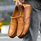 Mens Leather Flats Round toe Slip on Loafers Casual Shoes Driving Gomminos Plus