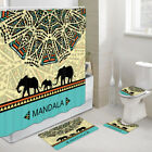 Elephant and Mandala Shower Curtain Bath Toilet Pad Cover Bath Mat
