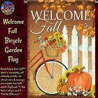 Primitive Folk Art Welcome Fall Bicycle Garden Flag or Wall Garden Flag Holder