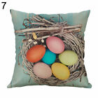 EY_ FP- JW_ KF_ Happy Easter Egg Rabbit Flower Pillow Case Cushion Cover Sofa Be