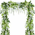 2pc 7FT Artificial Wisteria Vine Garland Plants Foliage Trailing Flower Outdoor