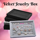 Display Show Case Box Organizer Holder Storage Velvet Tray Earring Ring Jewelry