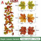 180cm Artificial Autumn Fall Maple Leaves Garland Hanging Plant Home Party-Decor